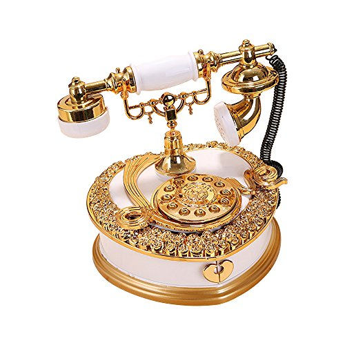 Vintage Music Box Dial Telephone White 0