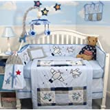 SoHo Airplane Baby Crib Nursery Bedding Set 13 pcs included Diaper Bag with Changing Pad & Bottle Case