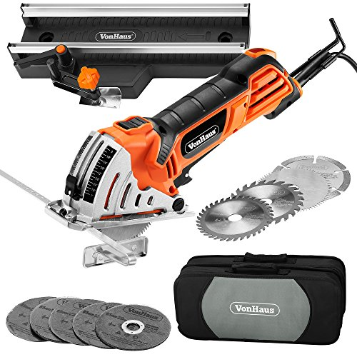 VonHaus-45-Amp-3-38-inch-Mini-Handheld-Circular-Miter-Saw-with-Angled-Cross-Cut-Guide-500W-Motor-3-Cutting-Blade-Sizes-5pc-Resin-Cutting-Disc-Set