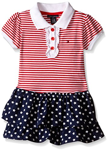 Tommy Hilfiger Baby-Girls Yarn Dyed and Printed Jersey Spandex Dress, Red, 12 Months