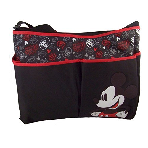 Disney Mickey Graffiti Hobo with Adjustable Shoulder Strap, Black/Gray/Red, Large - 1