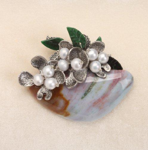 Luxury Jasper Based Pearl Flower Brooch