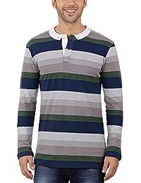 Nick&Jess Mens Grey & Navy Multi Striped Full Sleeve Polo T-Shirt