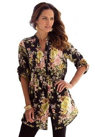 2135b3d22a Roamans Women s Plus Size English Floral Bigshirt