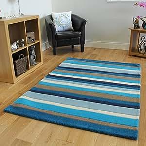 tapis pour salon bleu blanc et beige motif ray 100 laine. Black Bedroom Furniture Sets. Home Design Ideas