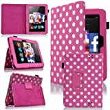 "GadgetinBox™ - Polka Dot Hot Pink Executive Multi Function Standby Case for the Kindle Fire HD 7"" Tablet 2012 Version (Previous Gerneration - Not for New 2013 Version) with Built-in Sleep / Wake Feature + Screen Protector + Capacitive Stylus"
