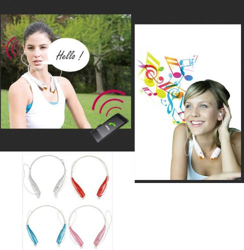 Leexgroup®New Universal Neckband Hand Free Bluetooth Sport Stereo Headset Headphone For Apple Iphone 4/4S/5/5C/5S Samsung S2/S3/S4/S5/Note 2/Note 3 Htc Lg Sony Blackberry Nokia... (White)