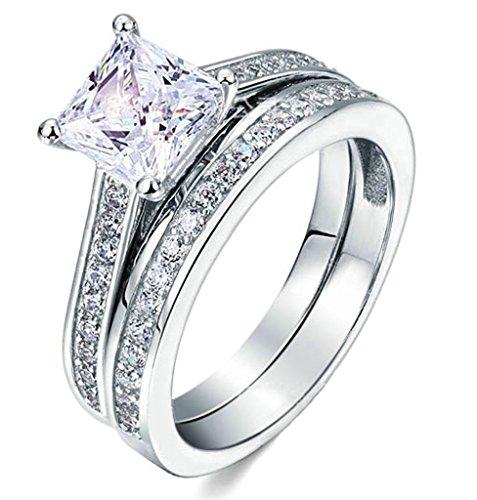 beydodo silver plated promise rings bridal set