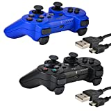 2 Pack Bluetooth Wireless Controller for PS3 Controller Double Shock Gamepad 6-Axis Game Controller for Playstation 3 Bonus 2 Charging Cable by Kabi Blue+Black