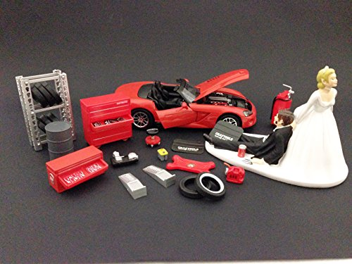 funny-auto-mechanic-car-loving-groom-being-dragged-by-bride-wedding-cake-topper-with-red-2003-dodge-