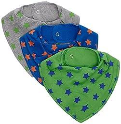 Pippi Scarf Bib - Blue/Green/Grey with Stars 3-Pack
