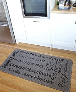 Alfombra para cocina gris resistente tejido plano limpieza - Alfombras cocina amazon ...