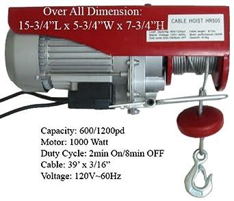 1200 LB Electric Rope Hoist Lift 800 - 1000 Watt