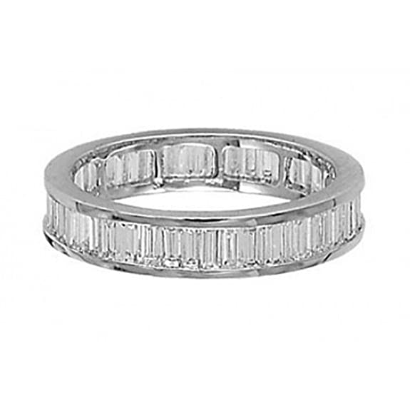 1.11 Carat Baguette Cut Diamonds Full Eternity Wedding Ring in 18K White Gold