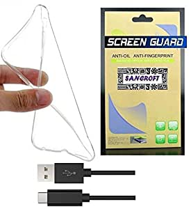 Samsung Galaxy On5 Pro FLEXIBLE TRANSPARENT BACK COVER CASE With HD CLEAR SCREEN GUARD & Micro USB Data Cable