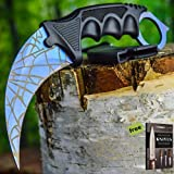 aTACTICAL COMBAT KARAMBIT NECK Carbon Steel Razor Sharp Knife Survival Hunting BOWIE Fixed Blade BLUE WEB + eBook by SURVIVAL STEEL