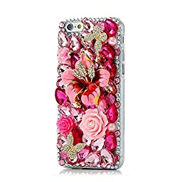 iPhone 5S Case, STENES Luxurious Crystal 3D Handmade Sparkle Diamond Rhinestone Clear Cover with Retro Bowknot Anti Dust Plug - Big Tulip Butterfly Flowers / Red