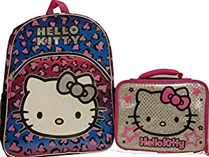Sanrio Hello Kitty Large Backpack School Bag and Lunchbox Lunch tote Bag 2 Pieces Set