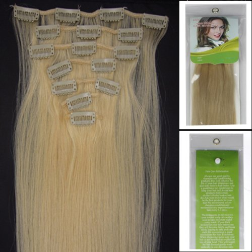 L-email 20inch 7pcs Straight Remy Clip in Real