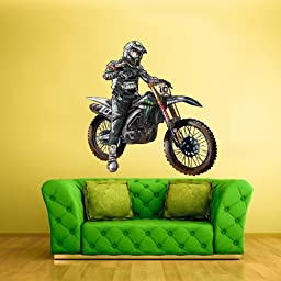 Full Color Wall Decal Mural Sticker Decor Art Poster Gift Dirty Bike Motocross Motocycle Dirt Moto (Col333)