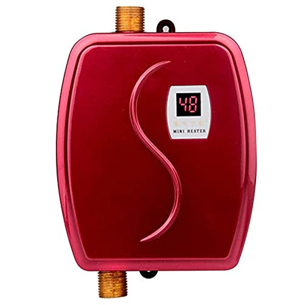 Electric Tankless Hot Water Heater, 110V 3000W Mini Tankless Instant Hot Water System with Leakage Protection and LCD Digital Display,Fast Getting Hot Water in 3 seconds for Bathroom Kitchen Washing (Color: Red)