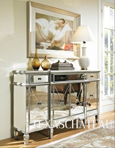 Hollywood Regency Glam Mirrored Mirror Furniture Cabinet