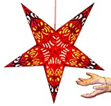 Hanging star lantern without lights - 5 point paper star Multicolour