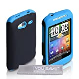 Dual Combo Hard And Soft Silicone Gel Case For The HTC Wildfire S Blue / Black With Screen Protector Film And Grey Micro-Fibre Polishing Clothby Yousave