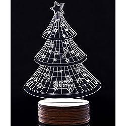 Creation® Visualizzazione 3D di Natale LED luci notturne Illusione Desk Lamp, unico Illusione Ottica Home Decor lampada da tavolo a LED (Albero Bianco)
