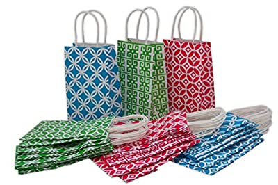 "Assorted Kraft Gift Bags, Small, Bulk set of 30, 5.25"" x 8.5"" x 3.25"""