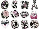 Timeline Trinketts Rhinestone Birthstone Charm Bracelet Beads Fits Pandora Jewelry European Style - Pink
