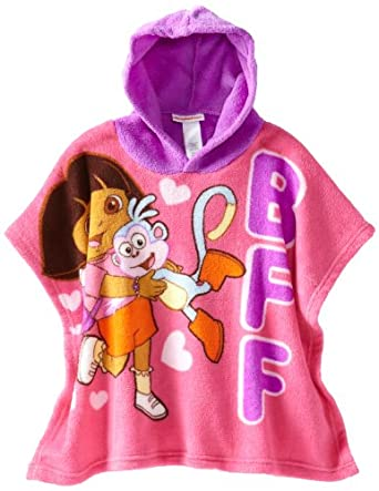 Nickelodeon Little Girls'  Dora the Explorer Hooded Poncho, Pink, One Size