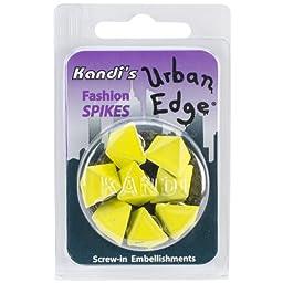 Kandi Corp Urban Edge Pyramid Screwback Spike, 13mm by 9mm, Lemon Yellow, 8-Pack