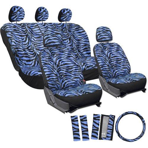 OxGord 17pc Zebra Animal Print Seat Cover Set for Hyundai Accent, Airbag Compatible, Split Bench, Electric Blue & Black