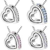 Doinshop New Useful Cute Nice Double Heart Crystal Rhinestone Eternal Love Silver Necklace