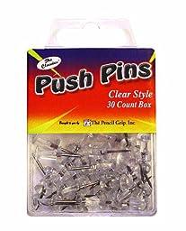 Pencil Grip The Classics Push Pins, Clear, 30 Pins per Box, 6 Boxes per Pack (TPG-22506)