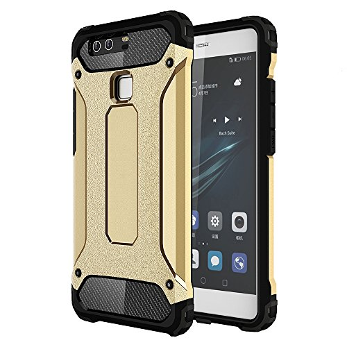 OnPrim Armor Hybrid Hard PC And Flexible Rubber Shockproof Bumper Drop Resistance Defend Case For Huawei Ascend P9 5.2 Inth Gold