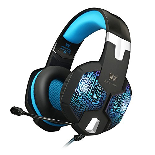 Jeecoo Stereo PC Gaming Headset 7 Colors Breathing LED Light Over-ear Headphones with Microphone Inflected for Comtuper Games