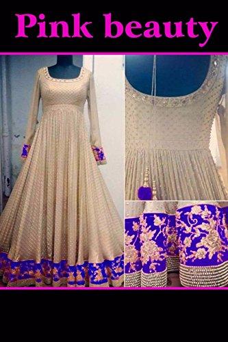 HMP Fashion Women`s Lycra Anarkali Style Bollywood Designer Salwar Suits Dress Materials (Blue)
