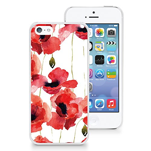 HelloGiftify Watercolor Floral Flower Case Plastic Hard Case Thin Cover for iPhone 5s / 5 (Red)