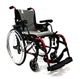 "New Karman S-Ergo 305 ( S-Ergo305Q18RS ) Ultra Lightweight Ergonomic Wheelchair with Adjustable Seat Width Height in Red, 18"" Seat Width & FREE Wheelchair Seatbelt!"