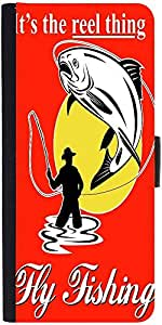 Snoogg Fly Fisherman Catching Trout With Fly Reel Designer Protective Flip Ca...