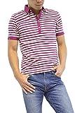 ボーダーポロシャツ (L, パープル×オフ)