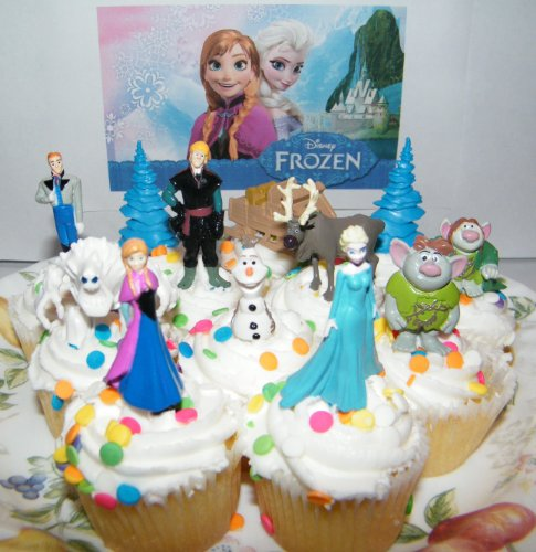 Disney Frozen Movie Figure Deluxe Cake Toppers / Cupcake Party Favor Decorations Set of 12 with Anna, Elsa the Snow Queen, Olaf, Reindeer, Ice Sled, Trees, Snow Monster, Trolls and More! - 1