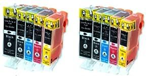 10 x kompatible XL Tintenpatronen mit CHIP & Füllstandanzeige Canon, Schwarz Cyan Gelb Magenta - 2 x kompletter Satz Patronen