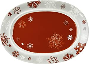 Waechtersbach Winter Splendor Oval Platter, Snowflakes Red