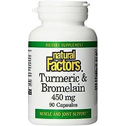 Natural Factors Turmeric and Bromelain (300mg/150mg) 450 mg total Capsules, 90-Count