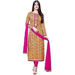 Shelina Women Yellow Cotton Printed Salwar Suit