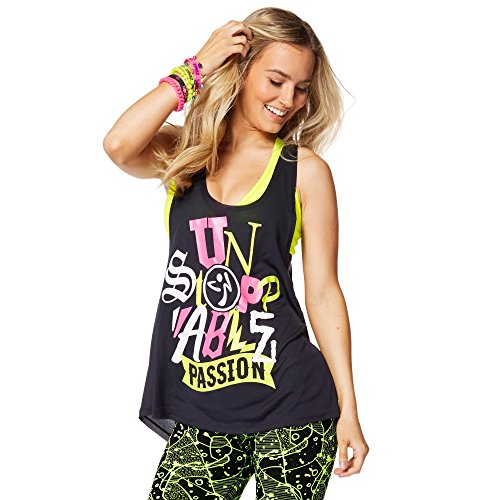 Zumba Fitness Passion-Canottiera da donna, modello Back to Black taglia: M (taglia del produttore: M)