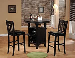 3pc Bar Table Bar Stools Set Espresso Finish Kitchen